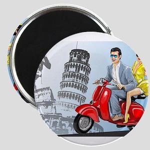 italian vespa romance Magnets