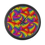 Rainbow Fan Pattern Large Wall Clock