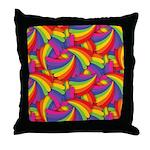 Rainbow Fan Pattern Throw Pillow