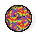 Rainbow Fan Pattern Wall Clock