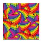 Rainbow Fan Pattern Tile Coaster