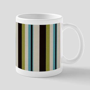 Modern Black and Blue Stripe Mugs