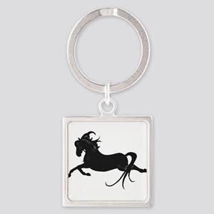 Black Leaping Pony Square Keychain