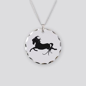 Black Leaping Pony Necklace Circle Charm