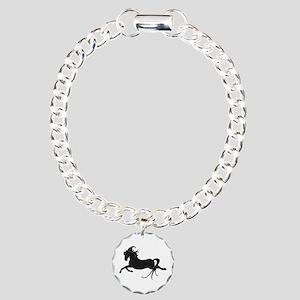 Black Leaping Pony Charm Bracelet, One Charm