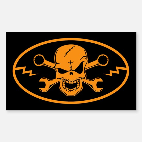 Skull & Wrenches Sticker (Rectangle)