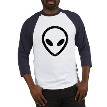Black Distressed Alien Head Baseball Jersey