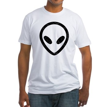 Black Distressed Alien Head Fitted T-Shirt