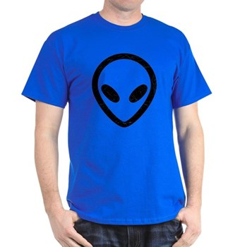 Black Distressed Alien Head Dark T-Shirt