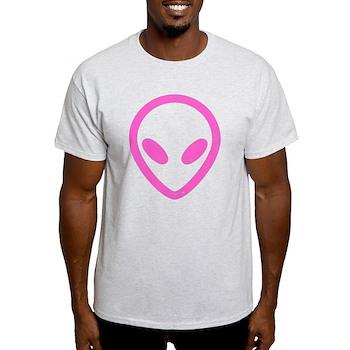 Pink Distressed Alien Light T-Shirt