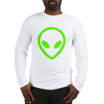 Neon Green Distressed Alien Long Sleeve T-Shirt