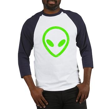 Neon Green Distressed Alien Baseball Jersey