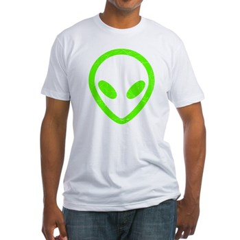 Neon Green Distressed Alien Fitted T-Shirt