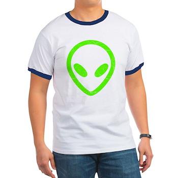 Neon Green Distressed Alien Ringer T-Shirt