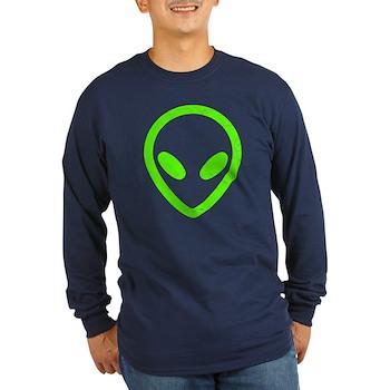 Neon Green Distressed Alien Long Sleeve Dark T-Shi