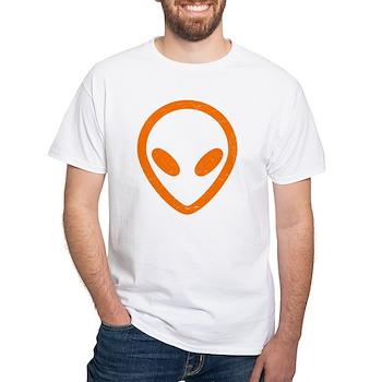 Bright Orange Distressed Alien Head White T-Shirt