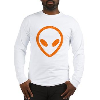 Bright Orange Distressed Alien Long Sleeve T-Shirt