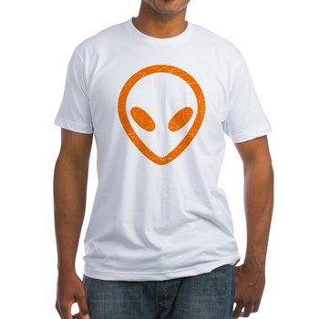 Bright Orange Distressed Alien Fitted T-Shirt