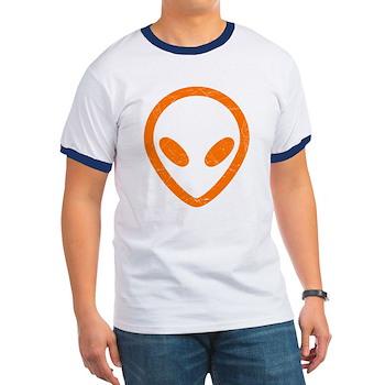 Bright Orange Distressed Alien Ringer T-Shirt