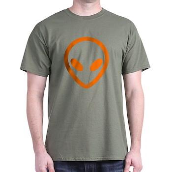 Bright Orange Distressed Alien Dark T-Shirt