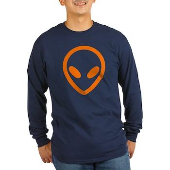 Bright Orange Distressed Alien Long Sleeve Dark T-