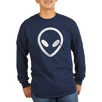 White Distressed Alien Long Sleeve Dark T-Shirt