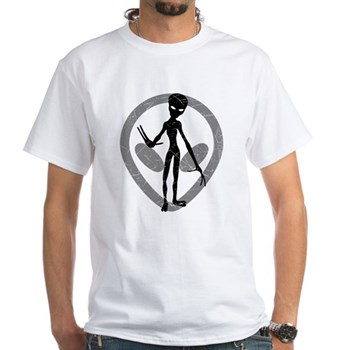 Distressed Alien White T-Shirt
