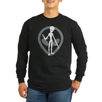 Distressed Alien Long Sleeve Dark T-Shirt