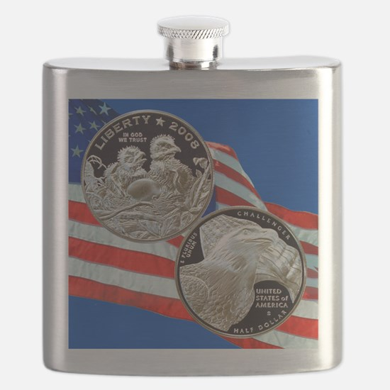2008 Bald Eagle Half Dollar Flask
