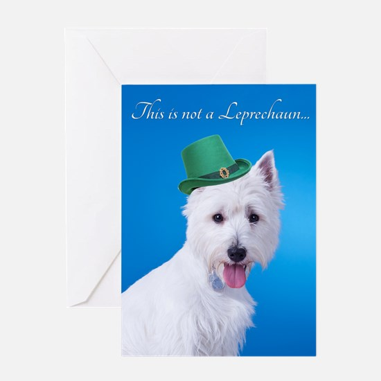 Funny Leprechaun Westie Greeting Cards