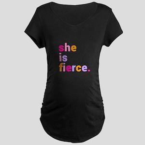 She if Fierce Colors Maternity Dark T-Shirt