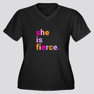 She if Fierc Women's Plus Size V-Neck Dark T-Shirt