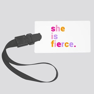 She if Fierce Colors Large Luggage Tag