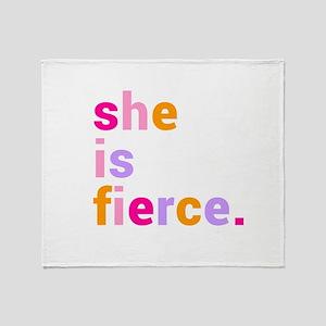 She if Fierce Colors Throw Blanket