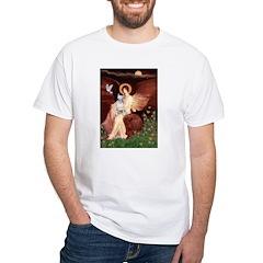 SeatedAngel-BullTerrier (P) White T-Shirt