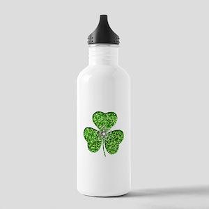 Glitter Shamrock With A Flower Water Bottle