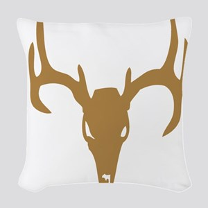 Brown Deer Skull With Antlers Woven Throw Pillow