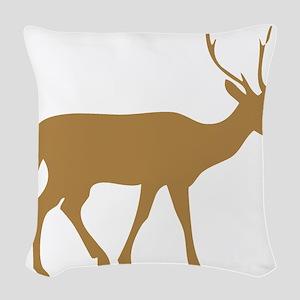 Brown Buck Silhouette Woven Throw Pillow