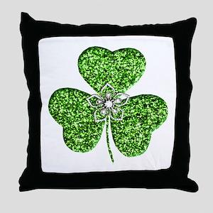 Glitter Shamrock With A Flower Throw Pillow