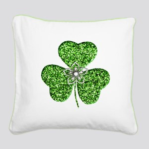 Glitter Shamrock With A Flower Square Canvas Pillo