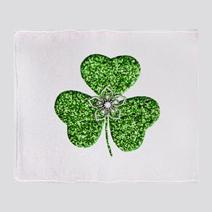 Glitter Shamrock With A Flower Throw Blanket