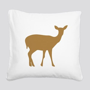 Brown Deer Doe Square Canvas Pillow