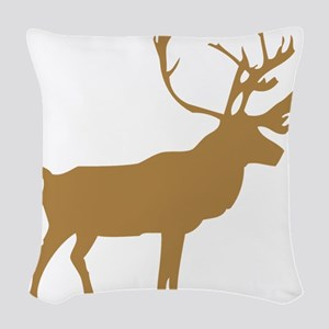 Brown Elk With Antlers Woven Throw Pillow