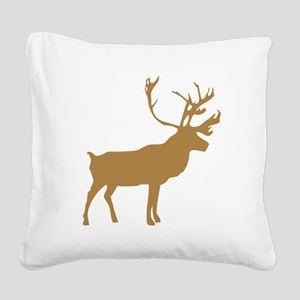Brown Elk With Antlers Square Canvas Pillow