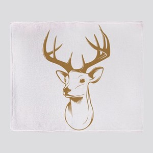 Brown Deer Hunting Trophy Throw Blanket