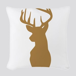 Brown Buck Hunting Trophy Silhouette Woven Throw P