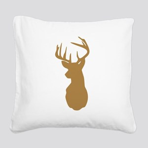 Brown Buck Hunting Trophy Silhouette Square Canvas