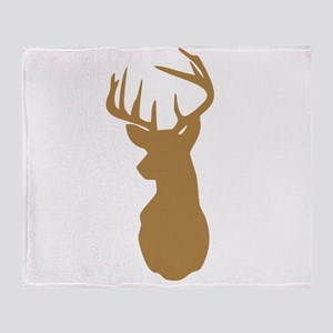 Brown Buck Hunting Trophy Silhouette Throw Blanket