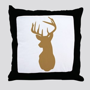 Brown Buck Hunting Trophy Silhouette Throw Pillow