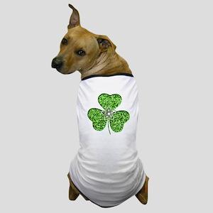 Glitter Shamrock With A Flower Dog T-Shirt